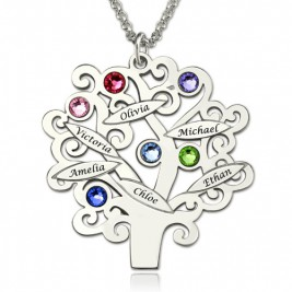 Engraved Family Tree Necklace with Birthstones Sterling Silver