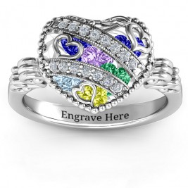 Sparkling Hearts Caged Hearts Ring with Butterfly Wings Band