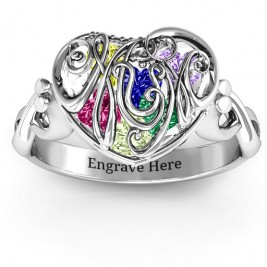 Cursive Mom Caged Hearts Ring with Infinity Band