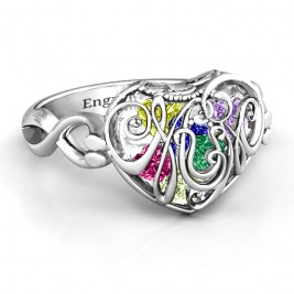 Mum heart Caged Hearts Ring with Infinity Band