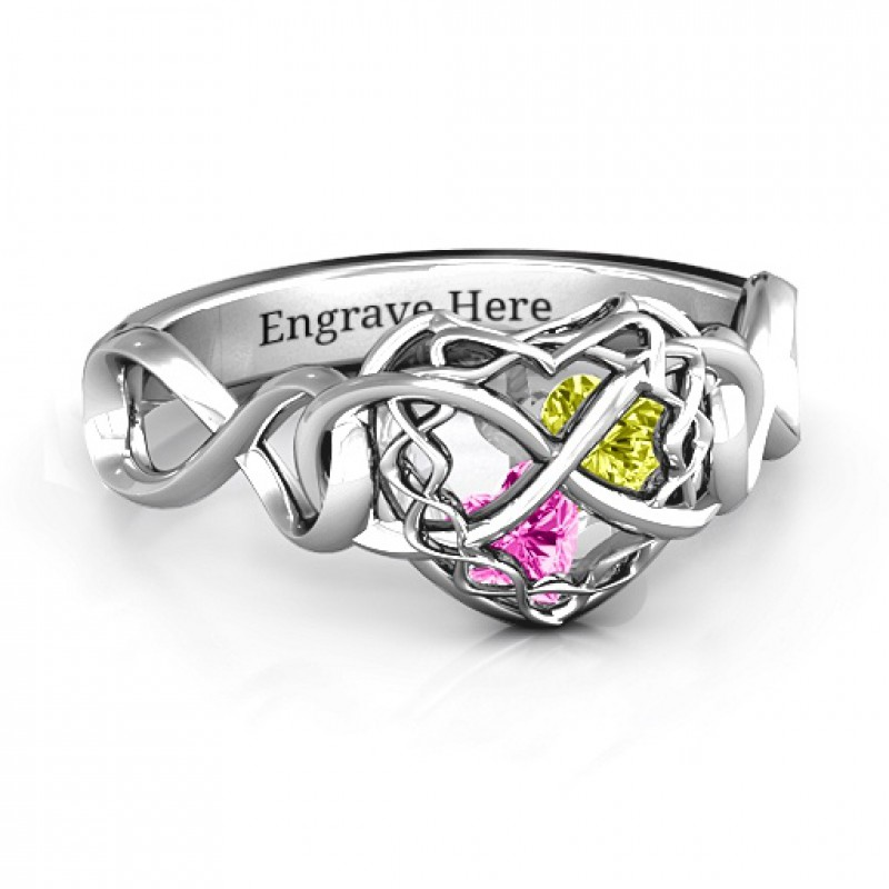 My Infinite Love Caged Hearts Ring