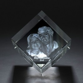 Square Crystal With Photo/Text Engraved Inside