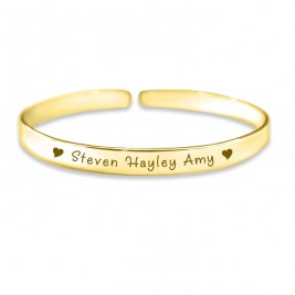 Personalised 8mm Endless Bangle - 18ct Gold Plated