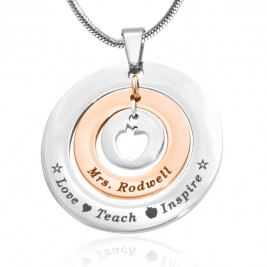 Personalised Circles of Love Necklace Teacher - TWO TONE - Rose Gold  Silver