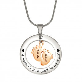 Personalised Cant Be Replaced Necklace - Single Feet 18mm - Two Tone - 18ct Rose Gold Plated