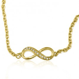 Personalised Neatie  Crystal Infinity Bracelet/Anklet - 18ct Gold Plated