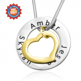 Personalised Heart Washer Necklace - TWO TONE - Gold  Silver