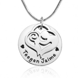 Personalised Mother's Disc Single Necklace - Sterling Silver
