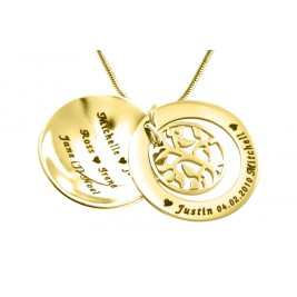Personalised My Family Tree Dome Necklace - 18ct Gold Plated