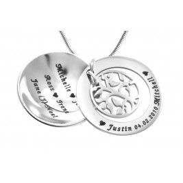 Personalised My Family Tree Dome Necklace - Sterling Silver