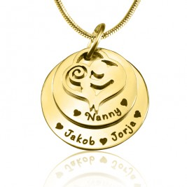 Personalised Mother's Disc Double Necklace - 18ct Gold Plated
