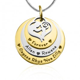 Personalised Mother's Disc Triple Necklace - TWO TONE - Gold  Silver