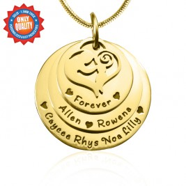 Personalised Mother's Disc Triple Necklace - 18ct Gold Plated