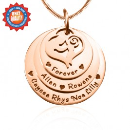 Personalised Mother's Disc Triple Necklace - 18ct Rose Gold Plated