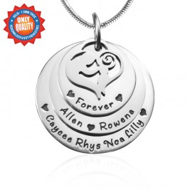Personalised Mother's Disc Triple Necklace - Sterling Silver