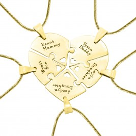 Personalised Penta Heart Puzzle - Five Personalised Necklaces
