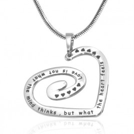 Personalised Swirls of My Heart Necklace - Sterling Silver