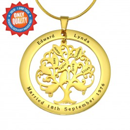 Personalised Tree of My Life Washer Necklace 10 - 18ct Gold Plated