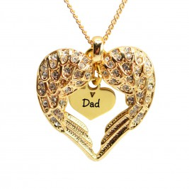 Personalised Angels Heart Necklace with Heart Insert - 18ct Gold Plated