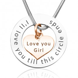 Personalised Circle My Heart Necklace - Two Tone HEART in Rose Gold