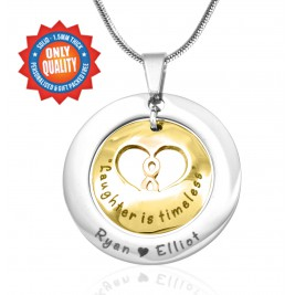 Personalised Infinity Dome Necklace - Two Tone - Gold Dome  Silver