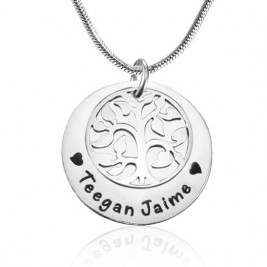 Personalised My Family Tree Single Disc - Sterling Silver
