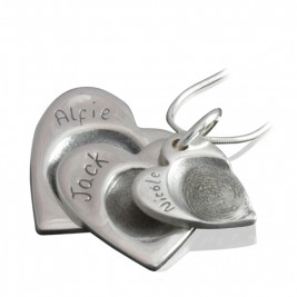 925 Sterling Silver FingerPrint Cascade Triple Heart Pendant