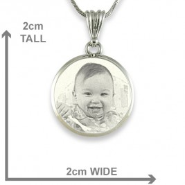 925 Sterling Silver Photo In Circle Pendant Necklace