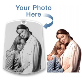 925 Sterling Silver Photo In Circle Pendant Dog Tag