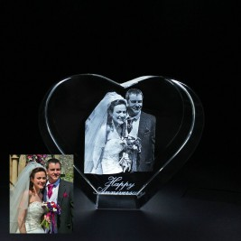 Heart Shape Crystal With 2D/3D Photo Engraved