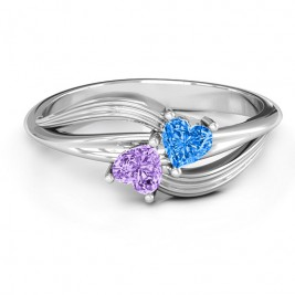 A  Couple  of Hearts Ring with Cubic Zirconias Stones