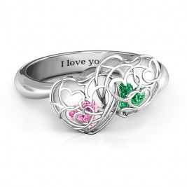 Double Heart Cage Ring with 1-6 Heart Shaped Birthstones