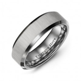 Men's Satin Finish Centre Polished Tungsten Ring