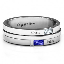 Sterling Silver Baguette Men's Ring