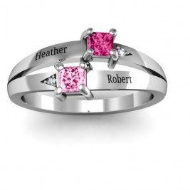 Sterling Silver Princess Stone and Accent Ring