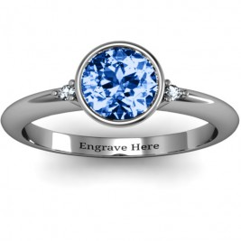 Sterling Silver Round Bezel Solitaire with Twin Accents Ring