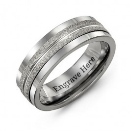 Tungsten Men's Double Row Brushed Tungsten Band Ring