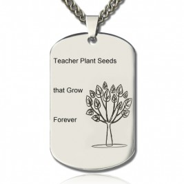 Man's Dog Tag Tree Name Necklace