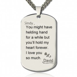 Man's Dog Tag Love and Family Theme Name Necklace
