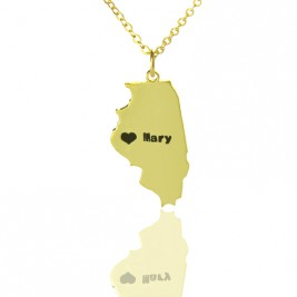Custom Illinois State Shaped Necklaces With Heart  Name Gold Plated