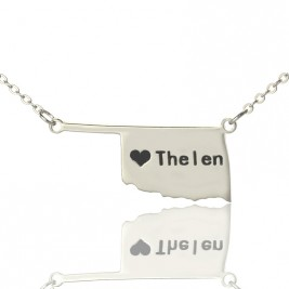 America Oklahoma State USA Map Necklace With Heart  Name Silver