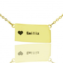Custom Kansas State Shaped Necklaces With Heart  Name Gold Plated