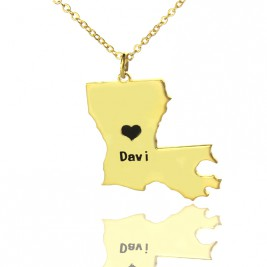 Custom Louisiana State Shaped Necklaces With Heart  Name Gold Plated