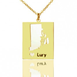 Personalised Rhode State Dog Tag With Heart  Name Gold Plated