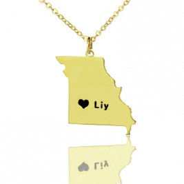 Custom Missouri State Shaped Necklaces With Heart  Name Gold Plated