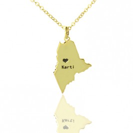 Custom Maine State Shaped Necklaces With Heart  Name Gold Plated