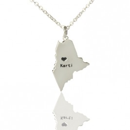 Custom Maine State Shaped Necklaces With Heart  Name Silver