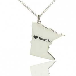 Custom Minnesota State Shaped Necklaces With Heart  Name Silver