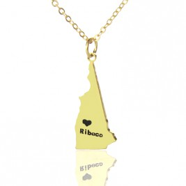Custom New Hampshire State Shaped Necklaces With Heart  Name Gold