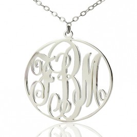 Personalised 18ct White Gold Plated Vine Font Circle Initial Monogram Necklace